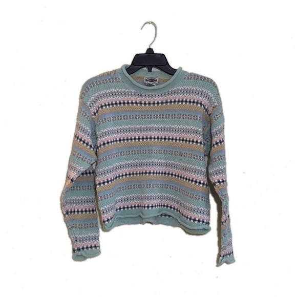 Vintage Striped Cropped Sweater